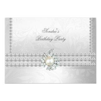 Elegant 50th Birthday Silver White Diamond Pearl 11 Cm X 16 Cm Invitation Card