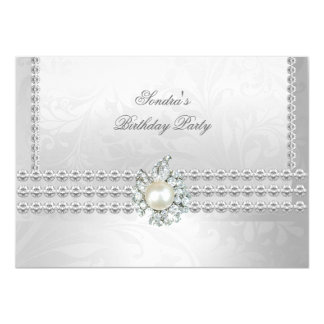 Elegant 50th Birthday Silver White Diamond Pearl Card