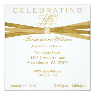 Elegant 50th- Fiftieth Birthday Party Invitations