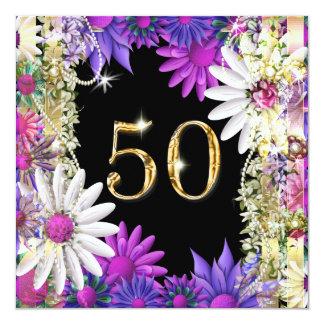 "Elegant 50th floral birthday engagement 5.25"" square invitation card"