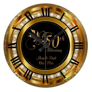 Elegant 50th Golden Diamond Anniversary Clocks