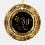 Elegant 50th Golden Diamond Anniversary Round Ceramic Decoration