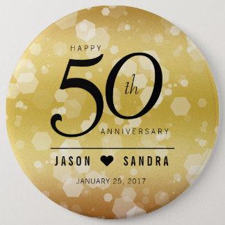 Elegant 50th Golden Wedding Anniversary 6 Cm Round Badge