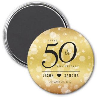 Elegant 50th Golden Wedding Anniversary 7.5 Cm Round Magnet