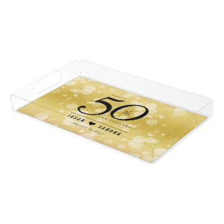 Elegant 50th Golden Wedding Anniversary Acrylic Tray