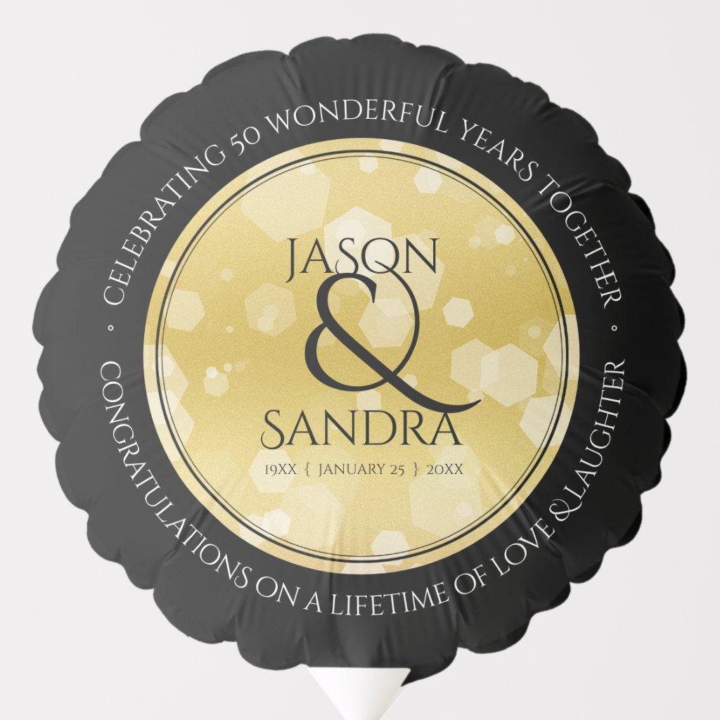 Elegant 50th Golden Wedding Anniversary Balloon