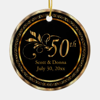 Elegant 50th Golden Wedding Anniversary Christmas Ornament
