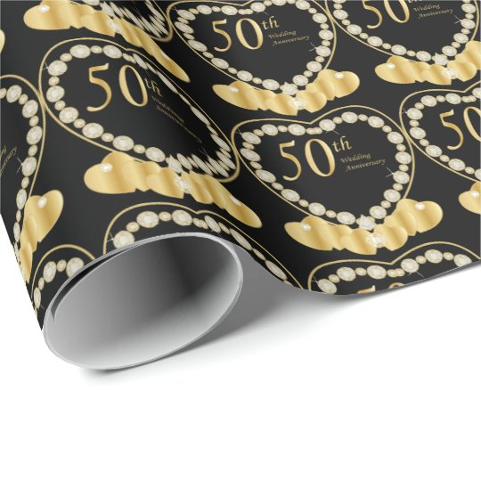Elegant 50th Golden Wedding Anniversary Hearts Wrapping Paper