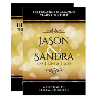 Elegant 50th Golden Wedding Anniversary Invitation