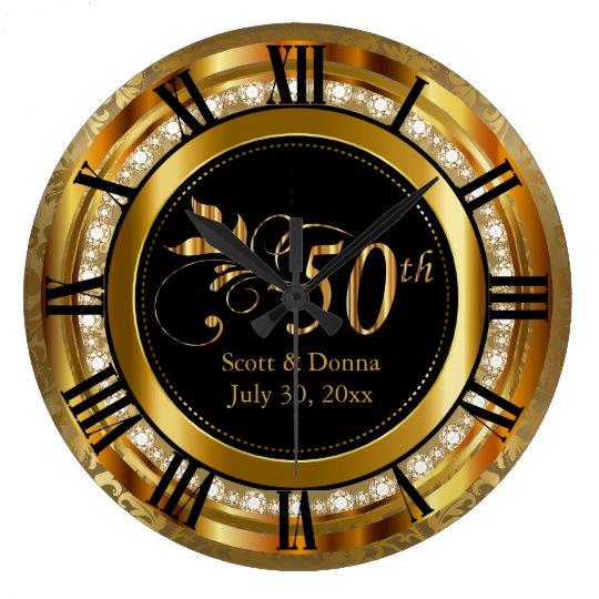 Elegant 50th Golden Wedding Anniversary Large Clock