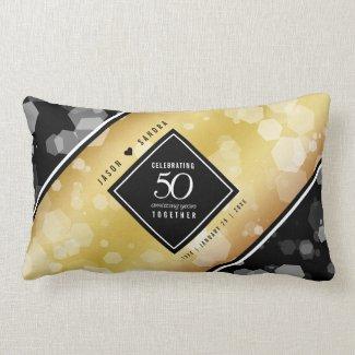 Elegant 50th Golden Wedding Anniversary Lumbar Cushion