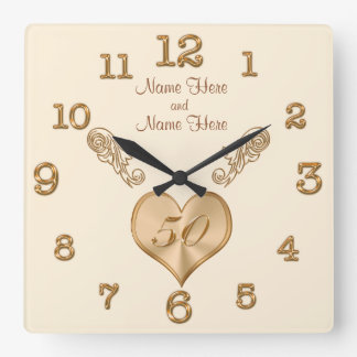 Elegant 50th Wedding Anniversary Clock with NAMES