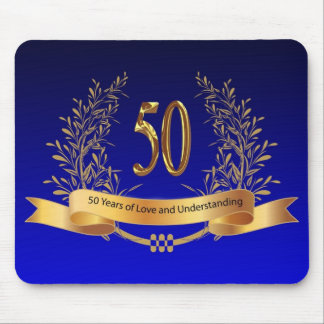 Elegant 50th Wedding Anniversary Gifts Mouse Mat