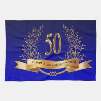 Elegant 50th Wedding Anniversary Gifts Tea Towel