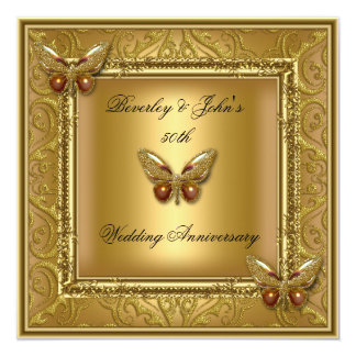 Elegant 50th Wedding Anniversary Golden Damask 13 Cm X 13 Cm Square Invitation Card