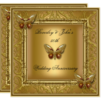 Elegant 50th Wedding Anniversary Golden Damask Card