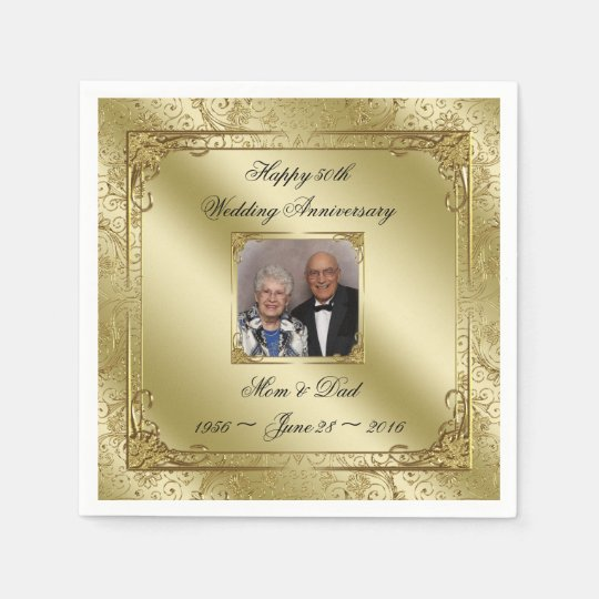 Elegant 50th Wedding Anniversary Paper Napkin
