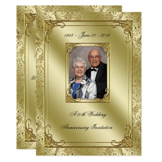 Expensive Wedding Gift For Brother : Elegant 50th Wedding Anniversary Photo Invite Zazzle