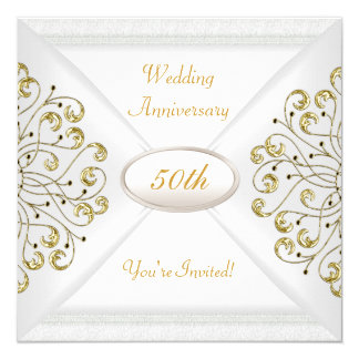 Elegant 50th Wedding Anniversary White Gold 13 Cm X 13 Cm Square Invitation Card