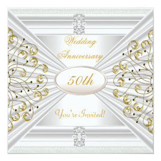 Elegant  50th Wedding Anniversary White Gold 13 Cm X 13 Cm Square Invitation Card