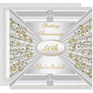 Elegant  50th Wedding Anniversary White Gold Card
