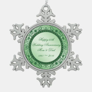 Elegant 55 Wedding Anniversary Snowflake Ornament