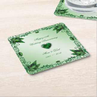 Elegant 55th Wedding Anniversary Coaster Square Paper Coaster