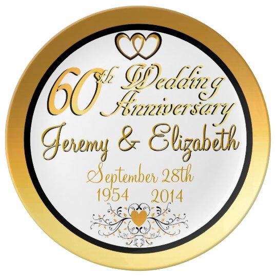 Elegant 60th Anniversary Porcelain Plate