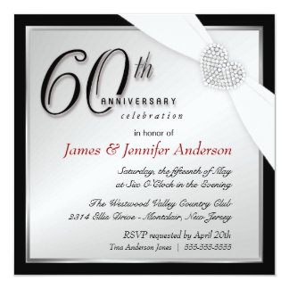 Elegant 60th Annniversary Party Invitations