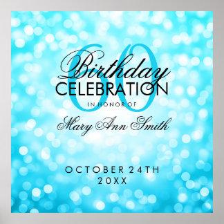 Elegant 60th Birthday Glitter Lights Turquoise Poster