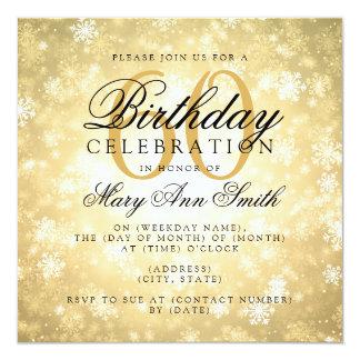 Elegant 60th Birthday Gold Winter Wonderland Card