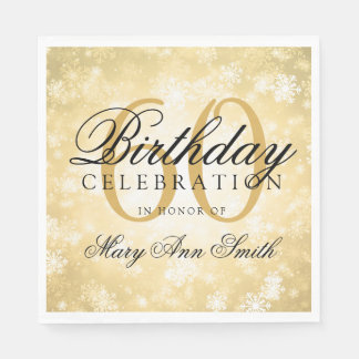 Elegant 60th Birthday Gold Winter Wonderland Paper Serviettes