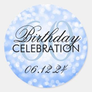 Elegant 60th Birthday Party Blue Glitter Lights Classic Round Sticker