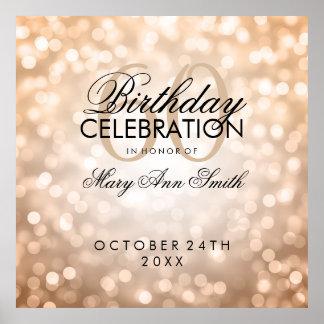 Elegant 60th Birthday Party Glitter Lights Copper Poster