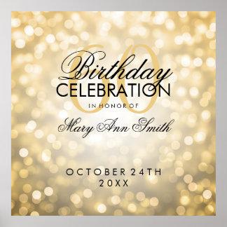 Elegant 60th Birthday Party Glitter Lights Gold Poster