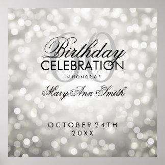 Elegant 60th Birthday Party Glitter Lights Silver Poster
