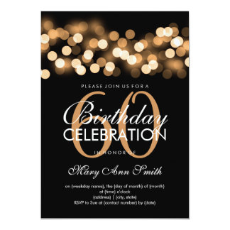 Elegant 60th Birthday Party Gold Hollywood Glam Card