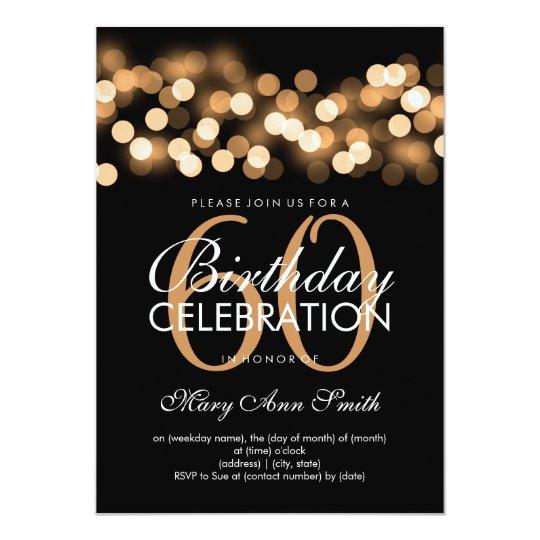 Elegant 60th Birthday Party Gold Hollywood Glam Invitation