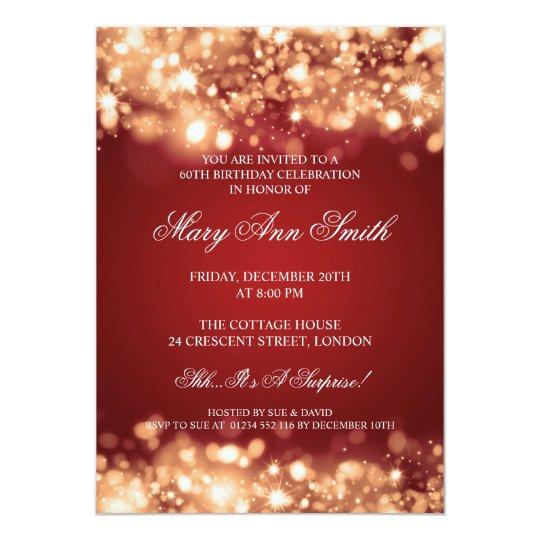 Elegant 60th Birthday Party Gold Sparkling Lights Card