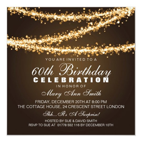 Elegant 60th Birthday Party Gold String Lights Card