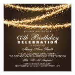 Elegant 60th Birthday Party Gold String Lights Personalised Invites