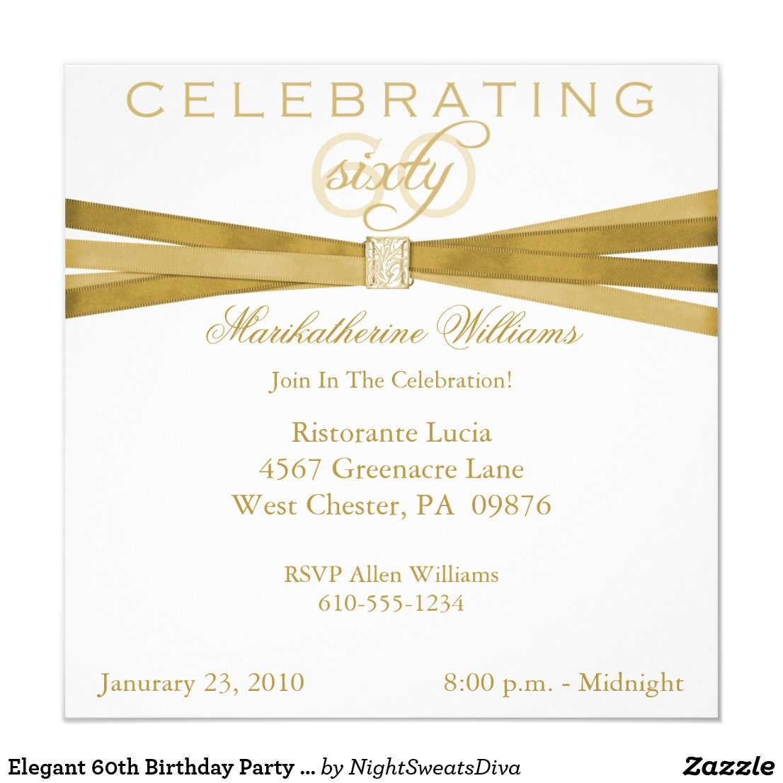 Elegant 60th Birthday Party Invitations