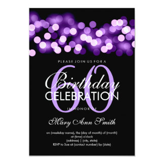 Elegant 60th Birthday Party Purple Hollywood Glam Card