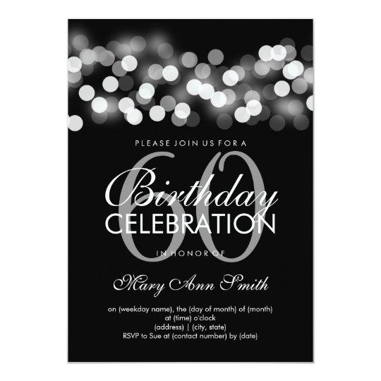 Elegant 60th Birthday Party Silver Hollywood Glam Card