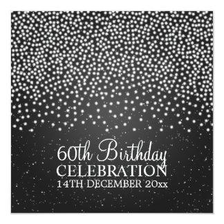 Elegant 60th Birthday Party Simple Sparkle Black Card