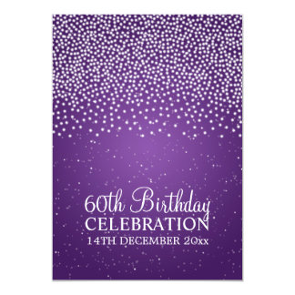 Elegant 60th Birthday Party Simple Sparkle Purple Card