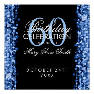 Elegant 60th Birthday Party Sparkles Blue Posters