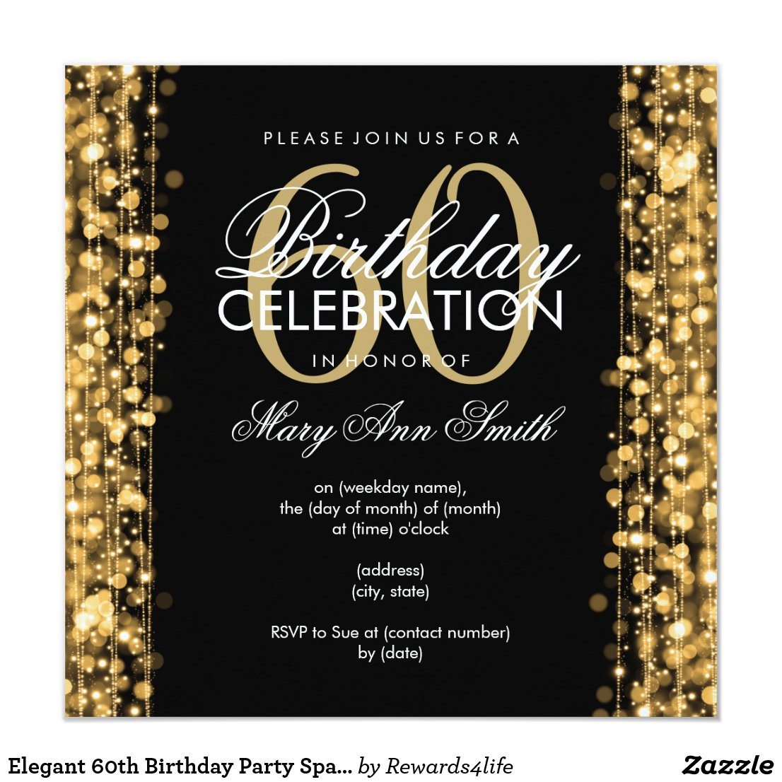 Elegant 60th Birthday Party Card