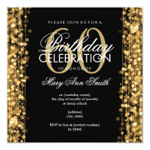 Elegant 60th Birthday Party Sparkles Gold 5.25x5.25 Square Paper Invitation Card