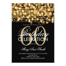 "Elegant 60th Birthday Party Sparkles Gold 5"" X 7"" Invitation Card"